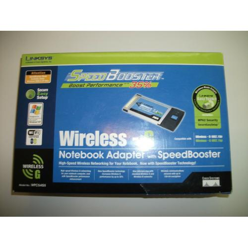 Linksys WPC54GS PCMCIA Wireless-G SpeedBooster Internet Adapter Notebook Laptop